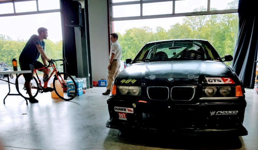 #404 parked in the Dominion Raceway garage