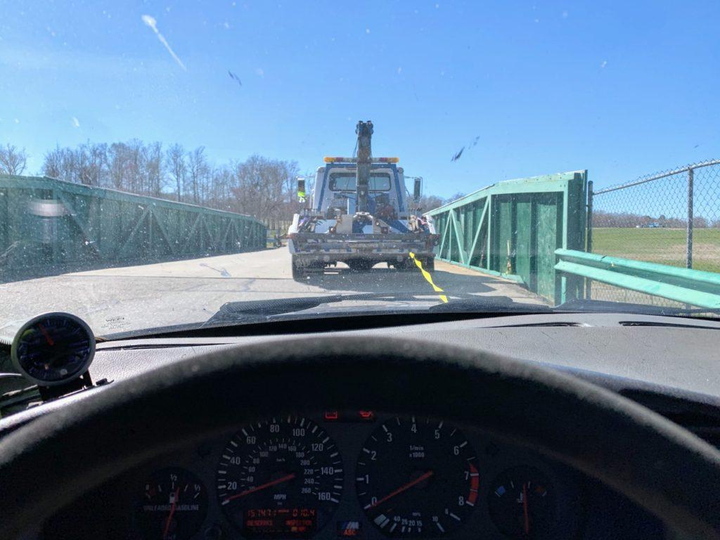 E36 M3 at VIR behind tow truck