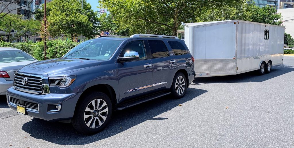 2019 Toyota Sequoia with enclosed car trailer