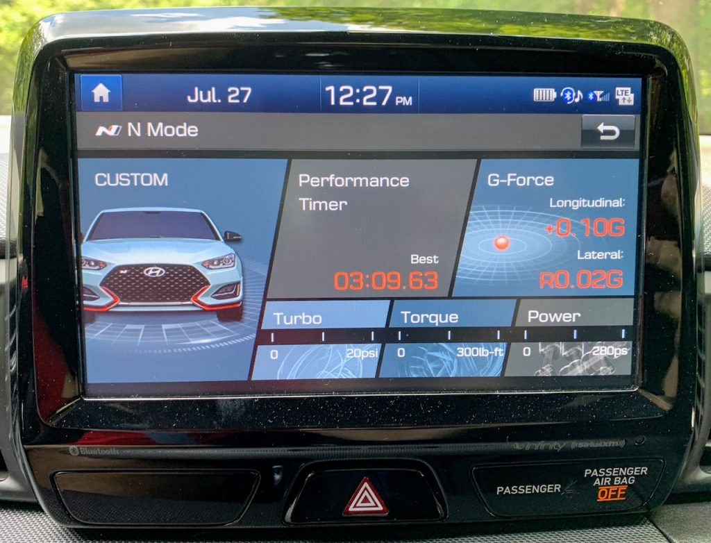 2019 Hyundai Veloster N N Mode screen