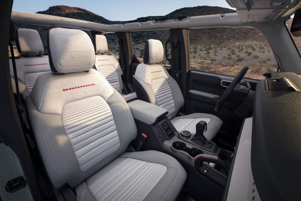 2021 Ford Bronco white interior