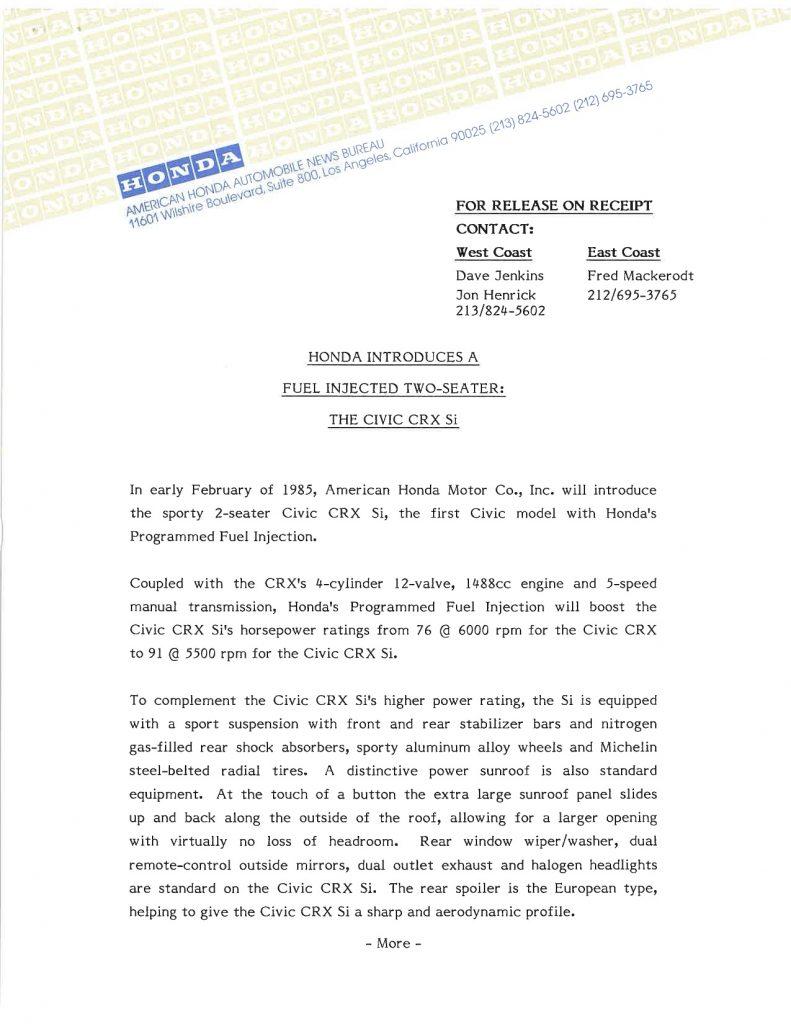1985 Honda CRX Si press release