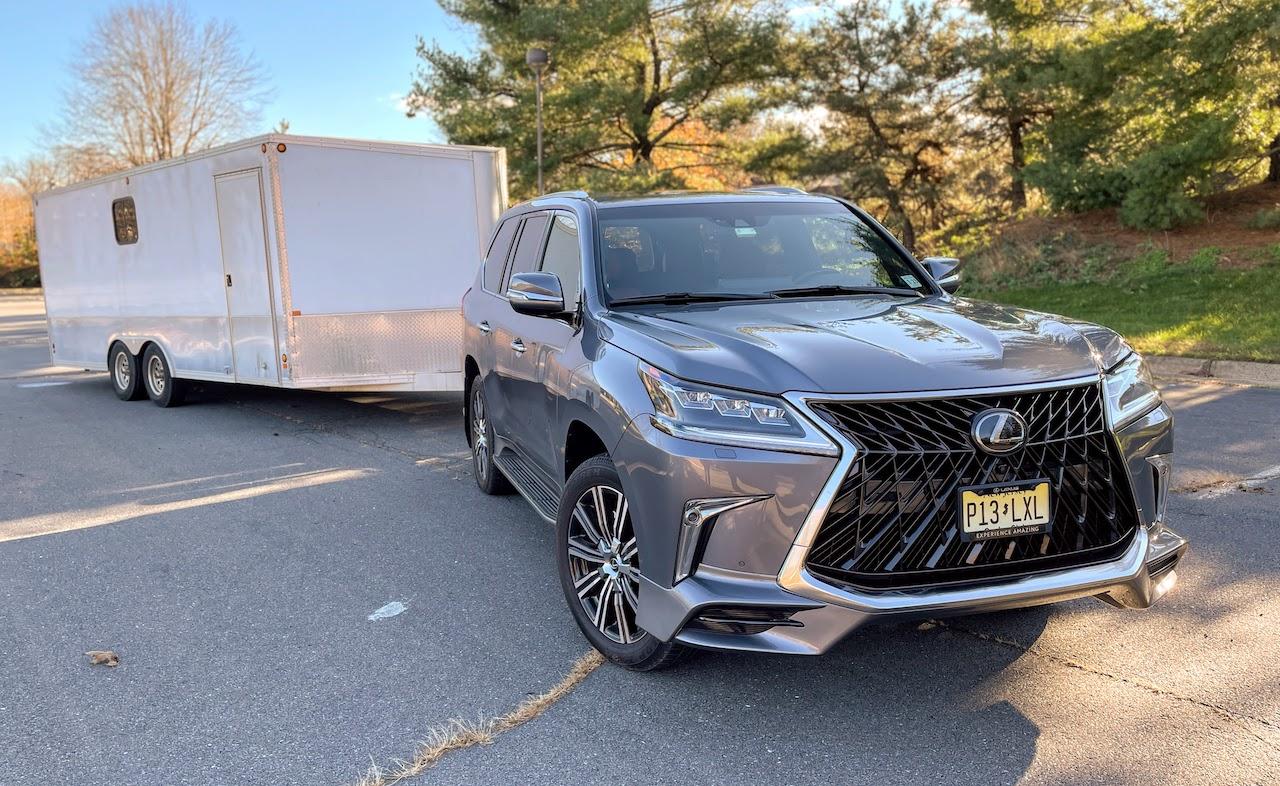2020 Lexus LX570 towing enclosed trailer